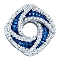 10KT White Gold 0.55CTW BLUE DIAMOND FASHION PENDANT