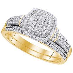 10K Yellow-gold 0.33CTW-Diamond MICRO-PAVE BRIDAL SET
