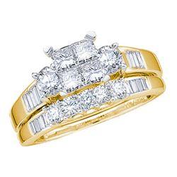 10KT Yellow Gold 0.53CTW DIAMOND PRIINCESS CENTER BRIDA