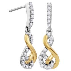 Womens 10K Gold Two Tone Infinity Love Knot Diamond Dan