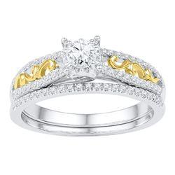 10kt Two-tone Gold Womens Round Diamond Bridal Wedding