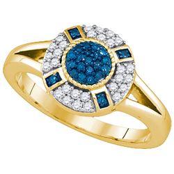 10KT Yellow Gold 0.39CTW BLUE DIAMOND FASHION RING