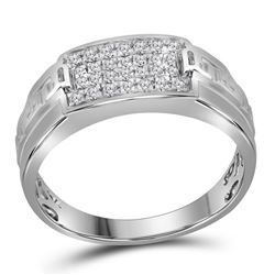 10kt White Gold Mens Round Pave-set Diamond Rectangle C