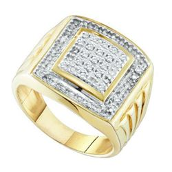 925 Sterling Silver Yellow 0.11CTW DIAMOND FASHION MENS