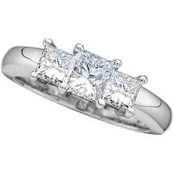 14kt White Gold Womens Princess Natural Diamond 3-stone
