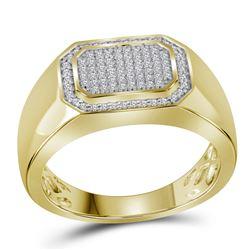 10kt Yellow Gold Mens Round Diamond Octagon Cluster Rin