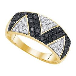 10K Yellow-gold 0.90CTW BLACK DIAMOND MICRO-PAVE RING