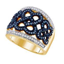 10K Yellow-gold 0.51CT BLUE DIAMOND FASHION RING