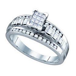 10kt White Gold Womens Princess Diamond Cluster Bridal
