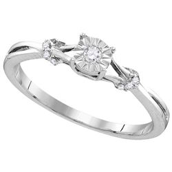 Sterling Silver Womens Round Natural Diamond Heart Love