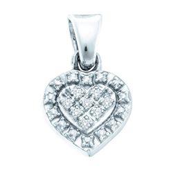 925 Sterling Silver White 0.03CTW DIAMOND HEART PENDANT