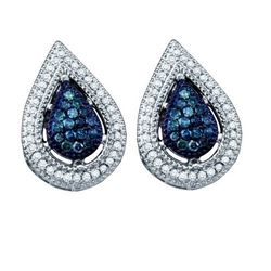 10KT White Gold 0.40CTW BLUE DIAMOND FASHION EARRINGS
