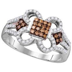 10KT White Gold 0.45CTW COGNAC DIAMOND FASHION RING