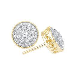 10kt Yellow Gold Womens Round Natural Diamond Flower Cl
