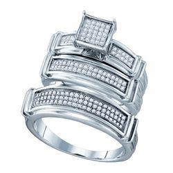 925 Sterling Silver White 0.42CT DIAMOND FASHION TRIO S