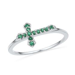 Sterling Silver Womens Round Lab-Created Emerald Cross