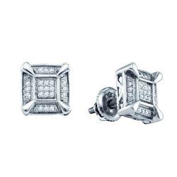 925 Sterling Silver White 0.14CTW DIAMOND MICRO PAVE EA