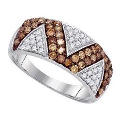 10KT White Gold 0.90CTW COGNAC DIAMOND MICRO-PAVE RING