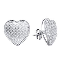 10KT White Gold 0.50CTW DIAMOND HEART EARRINGS