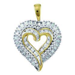 10KT Yellow Gold 0.50CTW ROUND BAGGUETTE DIAMOND HEART
