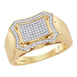10kt Yellow Gold Mens Round Diamond Curved Octagon Clus