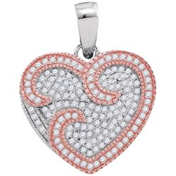 10KT White Gold Two Tone 0.35CTW DIAMOND HEART PENDANT