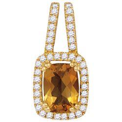 14KT Yellow Gold 0.18CTW-Diamond 0.65(MIN)CT CITRINE PE