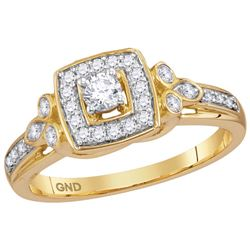 10kt Yellow Gold Womens Round Natural Diamond Round Hal