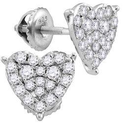 10kt White Gold Womens Round Natural Diamond Heart Love