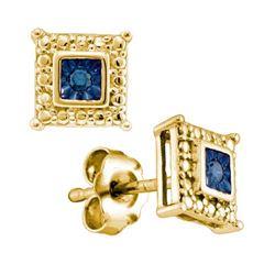 925 Sterling Silver Yellow 0.05CT BLUE DIAMOND FASHION