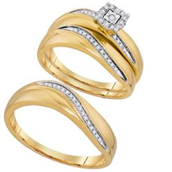 10K Yellow-gold 0.19CTW DIAMOND FASHION TRIO SET