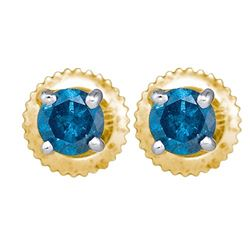 10K Yellow-gold 0.25CTW DIAMOND BLUE STUD