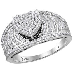 10kt White Gold Womens Round Natural Diamond Elevated H