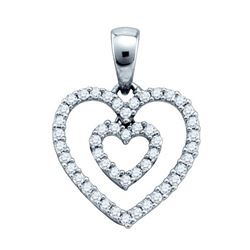 10KT White Gold 0.16CTW DIAMOND FASHION HEART PENDANT