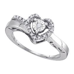 925 Sterling Silver White 0.11CT DIAMOND HEART RING