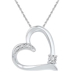 Sterling Silver Womens Round Diamond Solitaire Heart Lo