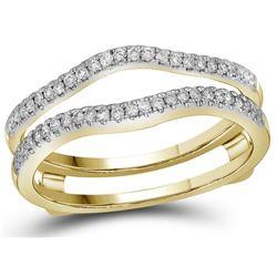 14kt Yellow Gold Womens Natural Diamond Ring Guard Wrap