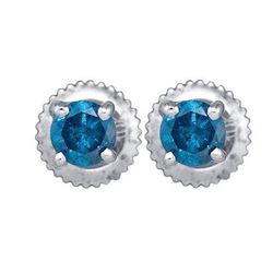 10KT White Gold 0.25CTW DIAMOND BLUE STUD