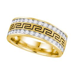 14kt Yellow Gold Mens Round Diamond Grecco Wedding Band