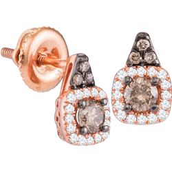 14kt Rose Gold Womens Round Cognac-brown Colored Diamon
