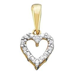 10KT Yellow Gold 0.01CTW ROUND DIAMOND HEART LADIES PEN
