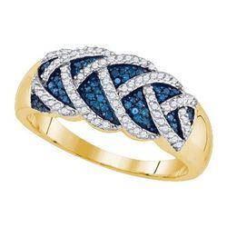 10KT Yellow Gold 0.40CTW BLUE DIAMOND MICRO-PAVE RING