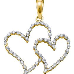 10KT Yellow Gold 0.17CTW DIAMOND HEART PENDANT