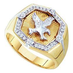 10K Yellow-gold 0.25CTW DIAMOND MENS EAGLE RING