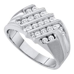 10KT White Gold 0.53CTW DIAMOND CLUSTER MENS RING