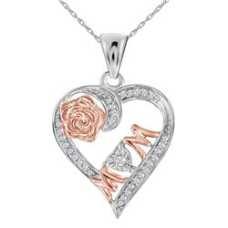 Sterling Silver Womens Round Diamond Rose-tone Mom Moth