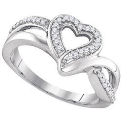 925 Sterling Silver White 0.13CTW DIAMOND FASHION RING