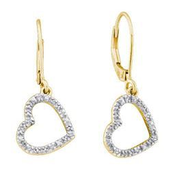 10KT Yellow Gold 0.06CTW DIAMOND LADIES HEART EARRINGS