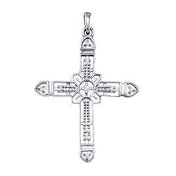 925 Sterling Silver White 0.07CTW DIAMOND CROSS PENDANT