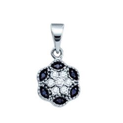 10KT White Gold 0.20CTW DIAMOND FLOWER PENDANT